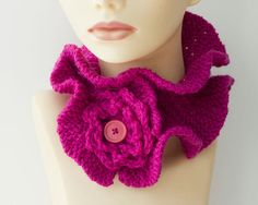 Knit Ruffled Neck Warmer with Buttoned Flower by beadedwire, $28.00