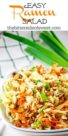 This easy Ramen Salad is a delicious side dish full of toasted almonds, sunflower seeds and topped with a tasty vinegar dressing! | The Bitter Side of Sweet Ramen Salad, Vinegar Dressing, Toasted Almonds, Allrecipes, Sweet Recipes, Side Dishes, Salads, Veggies, Tasty