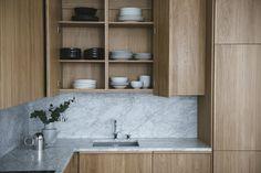 Stone Interior, Kitchen Interior, Kitchen Cabinet Design, Kitchen Cabinets, Wood Stone, Birch, Shelves, House, Home Decor