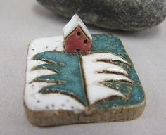 MyLand - White Christmas miniature stoneware house scene by elukka on etsy