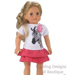 """Short Sleeve Zebra Top & Pink Tiered Skirt Fits 18"""" American Girl Doll Clothes #Unbranded"""
