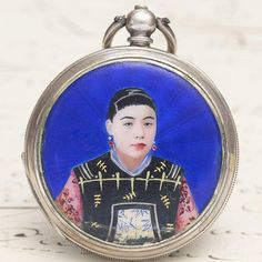 Antique Chinese Market Silver & Enamel Painting Pocket Watch by Georges Favre-Jacot