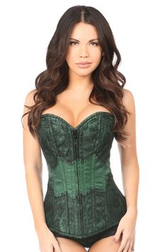 306d8b355c3 Daisy Dark Green Brocade w Black Eyelash Lace Overbust Corset