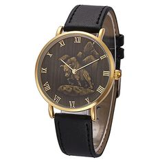 Animal Face Gold Leather Stainless Steel Watch