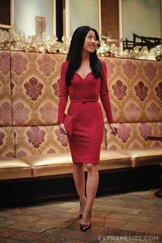 ExtraPetite.com | Red sweet heart neckline dress by L'Wren Scott for Banana Republic.