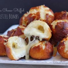 Garlic Cheese-Stuffed Pretzel Bombs (with homemade dough!)  Clogged arteries waiting to happen? Yes. But they look delicious so do i care? No.
