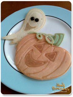 Halloween Pancakes.  How to make ghost & jack-o'-lantern pumpkin pancakes.