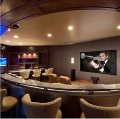 Beautiful beige home theater.