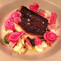Seared cod with parsnip, fermented radish & fine herbes #onthemenu