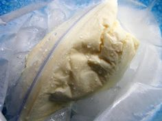 2 TBL sugar, 1 cup half & half (or light cream), 1/2 tsp vanilla extract  1/2 cup coarse salt or table salt, ice  gallon-sized baggie, pint-sized baggie and 10 minutes of shaking and BAM! Ice cream! I'm SO doing this when we camp this summer!!