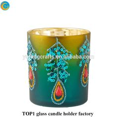 Peacock feathers diamond flameless candles candle holders yufengcraft