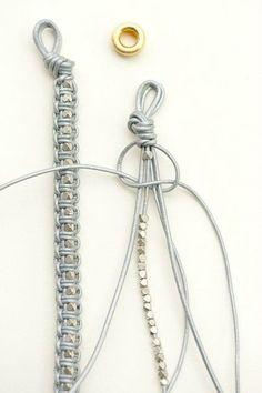 DIY Leather Macrame Bracelet by lebenslustiger # cute Braids diy Leder Armband DIY. Bracelet En Cuir Diy, Leather Bracelet Tutorial, Leather Tutorial, Macrame Jewelry, Macrame Bracelets, Gold Bracelets, Macrame Knots, Gold Earrings, Micro Macrame