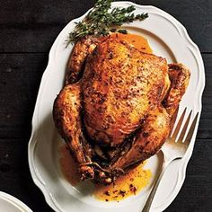 Classic Roast Chicken | MyRecipes.com |  I do the opposite cooking technique - 425 for 30 minutes then down to 350 for the remainder.