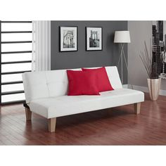 Sofa Bed Couch Modern Style White Faux Leather Quick And Easy Convertion #Generic