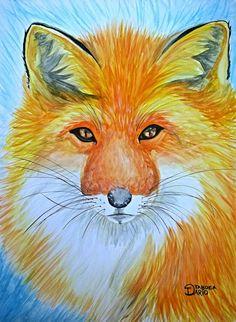 Raposa feita em aquarela sobre papel opaline pelo ilustrador Dario Taboka.