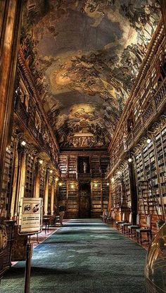 The Philosophical Hall - Library of Strahov Monastery, Prague, Czech Republic A fresco on the ceiling of a 770 yr old library. One more reason I'm dying to visit Prague. Beautiful Architecture, Beautiful Buildings, Art And Architecture, Beautiful Places, Library Architecture, Prague Architecture, Renaissance Architecture, Interesting Buildings, Beautiful Beautiful