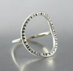 Sterling Silver Circle Ring with Black by JenniferWoodJewelry