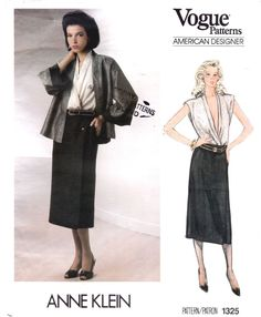 Vogue Designer Anne Klein Misses Jacket, Skirt, Blouse; Sz FF Skirt Patterns Sewing, Vogue Sewing Patterns, Anne Klein, Secretary, 1990s, Blouse, Jacket, Studio, Classic