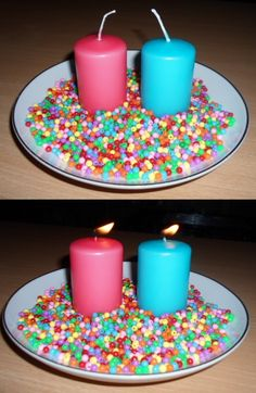 A decoration made out of candles and beads.