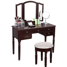 SONGMICS Vanity Set Tri-folding Mirror Make-up Dressing Table Cushioned Stool 5 Drawers Brown Are you looking for a unique but practical dressing tabletop this Songmics vanity set. Imported from China White Vanity Table, Vanity Table Vintage, Vanity Table Set, Makeup Table Vanity, Vanity Bench, Bedroom Dressing Table, Dressing Table With Stool, Home Furniture, Furniture Design