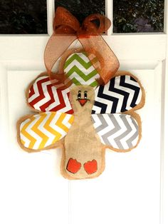 Burlap Turkey Doorhanger by BsHandmadeItems on Etsy, $45.00