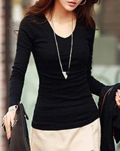 Stylish V-Neck Long Sleeves Slimming Solid Color T-Shirt For Women