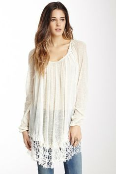 Slip Away Lace Pullover. Looks so comfy :) Just Style, Cool Style, Fashion Pants, Boho Fashion, Fashion Ideas, Pretty Outfits, Cute Outfits, Lace Outfit, Lace Sweater