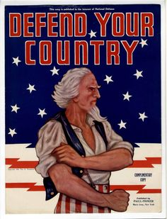 Uncle Sam Poster Sheet Music Paull Pioneer Defend Your Country, 1940