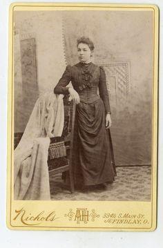 Cabinet Card Vintage Photo Young Woman Nice Dress Findlay Ohio   eBay