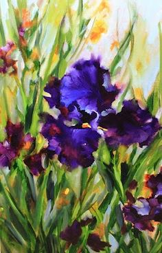 Ode to Purple Iris Painting by Texas Flower Artist Nancy Medina, painting by artist Nancy Medina