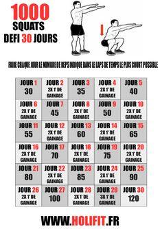 Ce défi de 30 jours vous propose d'effectuer 1000 squats en 1 mois. Le challenge peut sembler difficile au premier abord mais il est pourtant tout à fait adapté aux débutants.
