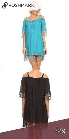 Aqua Dress S-2X Beautiful aqua color and fringe detail in this mini dress.  Sizes S-2X.. black is available in a separate listing sassy bling, paisley vine Dresses Mini