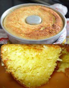 INGREDIENTES 5 ovos 1 xícara (de chá) de açúcar 3 xícaras (de chá) de leite (em temperatura ambiente) 5 colheres (de sopa) de farinha de trigo 50 grs de coco seco ralado 100 grs de queijo parmesão ralado 1 xícara (de chá) de açucar para... My Recipes, Sweet Recipes, Cake Recipes, Dessert Recipes, Cooking Recipes, Favorite Recipes, Cooking Cake, Wasc Cake Recipe, Best Gluten Free Desserts