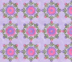 Fill A Yard Rose Bud Wreath Quilt Blocks 6in Lilac Pink Green fabric by wickedrefined on Spoonflower - custom fabric #fabric #spoonflower #quilt #block #flower #floral #geometric #roses #pink #purple