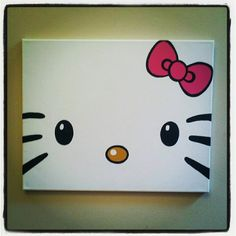 DIY Hello Kitty Canvas Painting...totally making this for my future Hello Kitty lover Cat Crafts, 3 Canvas Painting Ideas, Canvas Paintings, Canvas Ideas, Kids Canvas, Diy Canvas Art, Canvas Crafts, Easy Painting For Kids, Diy Painting