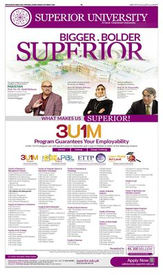 Superior University Pakistan Admission 2021 for Master, Ph. D, BS 4 Year