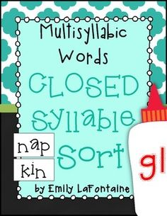 Attached is a multisyllabic words with closed syllables sort. This document includes a word list, sorting mat, and extra freebie word list for students who need reinforcement.