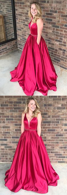 Ball Gown Prom Dresses, Prom Ball Gowns, Red Prom Dresses, V-neck Prom Dresses Satin, Modest Prom Dresses Beading #ballgowns #longpromdresses