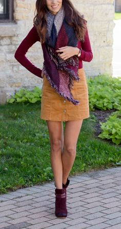Navy and Burgundy Blanket Scarf, Suede Nordstrom Booties, Courdoroy skirt Skirt Outfits, Fall Outfits, Cute Outfits, Fall Skirts, Cute Skirts, Blanket Scarf Outfit, Preppy Style Winter, Bordeaux, Country Fashion