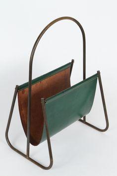 Carl Auböck; Brass and Leather Magazine Holder, 1940s.