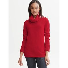 """Banana Republic Sz M Red Gold Button Turtleneck Banana Republic Sz M Red Gold Button  Long Sleeve Thickturtleneck Bust 34-36 Length 32"""" New Without tags! Banana Republic Sweaters Cowl & Turtlenecks"""