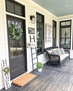 Home Decoration Ideas Mirror 30 Gorgeous And Inviting Farmhouse Style Porch Decorating Ideas.Home Decoration Ideas Mirror 30 Gorgeous And Inviting Farmhouse Style Porch Decorating Ideas House With Porch, Cozy House, Farm House Porch, Porch Uk, Farmhouse Style, Farmhouse Decor, Farmhouse Homes, Modern Farmhouse, Farmhouse House Numbers