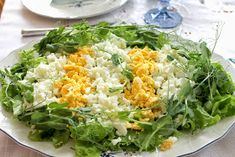 Greens Recipe, Fried Rice, Lettuce, Cobb Salad, Fries, Food And Drink, Vegetables, Ethnic Recipes, Food And Drinks