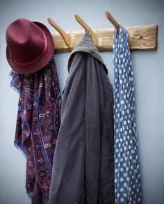 Contemporary wooden coat hooks, unusual coat hanger wall hooks, wide coat & hat rack cm, rustic simplicity handmade in Somerset UK – Coat Hanger Design Coat Hanger Hooks, Wall Hanger, Wall Hooks, Hangers, Coat Racks, Wooden Coat Hooks, Rustic Coat Rack, Wooden Bedroom, Clothes Hooks