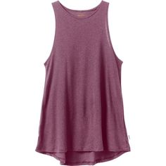 RVCA Women's  Label Tunic Tank Top (7.975 HUF) ❤ liked on Polyvore featuring tops, drape top, purple top, high neck top, drapey top and rvca tops