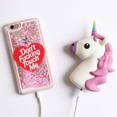 Unicorn and glitter phone case and charger