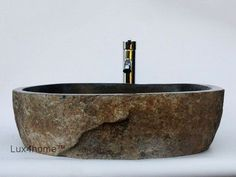 River stone vessel sink bathroom – natural in High quality rock made of natural stone. Manufactured from river stone in Indonesia. Our stone basins are used as hotel sinks, stone Source by Natural Stones, Trendy Bathroom Designs, Stone Sink, Bathroom Remodel Tile, Shower Remodel, Stone Vessel Sinks, Tile Bathroom, Bathtub Tile, Sink