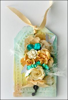 Loving the teal and oranges together. Altered canvas tag by Felicity Wilson using new stencils, flowers and more! Scrapbook Paper Flowers, Altered Canvas, Vintage Tags, Amazing Flowers, Creative Art, Paper Art, Stencils, Mixed Media, Canvas Art