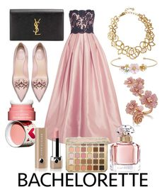 """Dress rachel for bachelorette #bacheloretteparty #contest #polyvore #polyvoreid"" by vikapranika on Polyvore featuring Reem Acra, Yves Saint Laurent, LC Lauren Conrad, Oscar de la Renta, Clarins, Marc Jacobs and Guerlain"