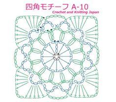 かぎ編み Crochet Japan : 四角モチーフ A-10【かぎ針編み】編み図・字幕解説 Square Motif / Crochet and Knitting Japan